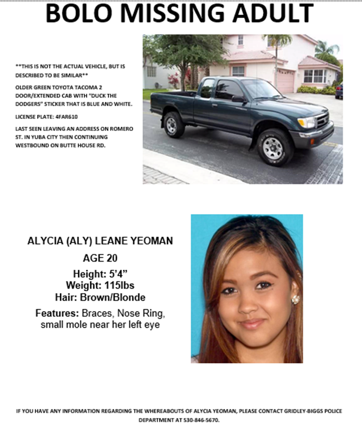 Missing Poster for Alycia Yeoman